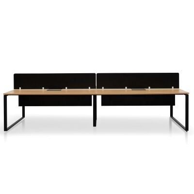 Lacasa Back-to-Back Workstation Desk with Black Screen, 4 Seats, 360cm, Natural / Black
