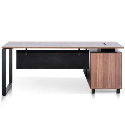 Lacasa Executive Office Desk, Left Return, 180cm, Walnut / Black