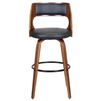 Oslo Commercial Grade Swivel Bar Stool, Black / Walnut with Black Footrest