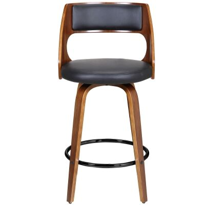 Oslo Commercial Grade Swivel Counter Stool, Black / Walnut with Black Footrest