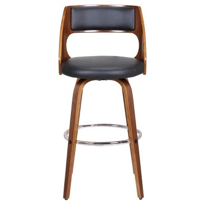 Oslo Commercial Grade Swivel Bar Stool, Black / Walnut with Silver Footrest