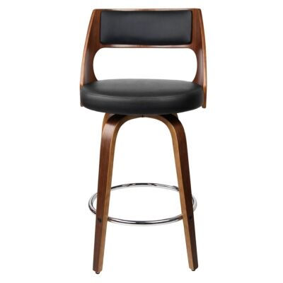 Oslo Commercial Grade Swivel Counter Stool, Black / Walnut with Silver Footrest