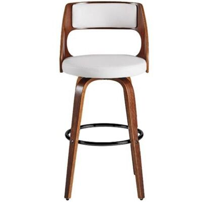Oslo Commercial Grade Swivel Bar Stool, White / Walnut with Black Footrest