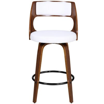 Oslo Commercial Grade Swivel Counter Stool, White / Walnut with Black Footrest