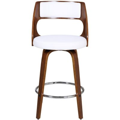 Oslo Commercial Grade Swivel Counter Stool, White / Walnut with Silver Footrest