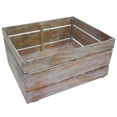 Guston Solid Mango Wood Timber Shoe Box - White Washed Natural