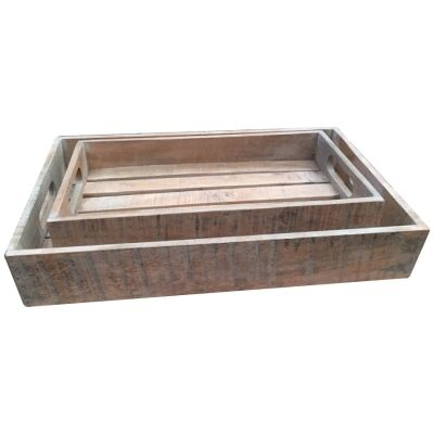 Guston 2 Piece Mango Wood Tray Set, White Washed Natural