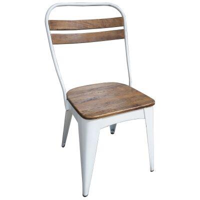 Javier Mango Wood & Iron Dining Chair, White
