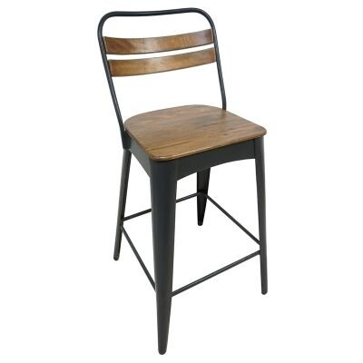 Javier Metal Counter Stool with Timber Seat