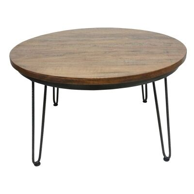 Mayo Timber and Metal 80cm Round Coffee Table Charcoal / Natural with Rainbow Finish