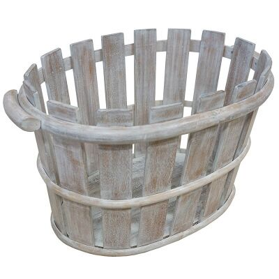 Porter Solid Mango Wood Timber Basket, White Wash