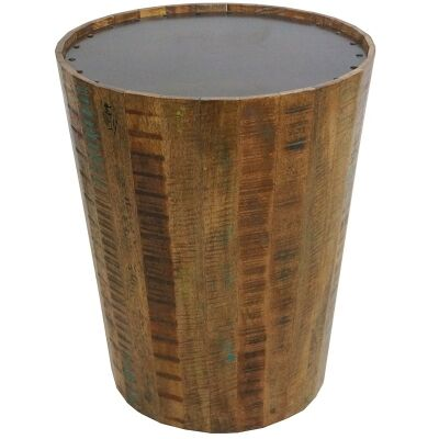 Concord Solid Mango Wood Timber Round Side Table with Metal Top