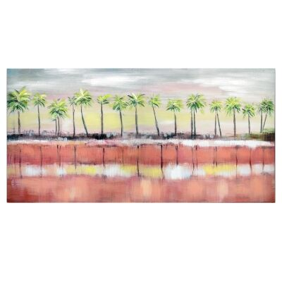 Palm Sunset Stretched Hand Painted Canvas Wall Art, 120cm