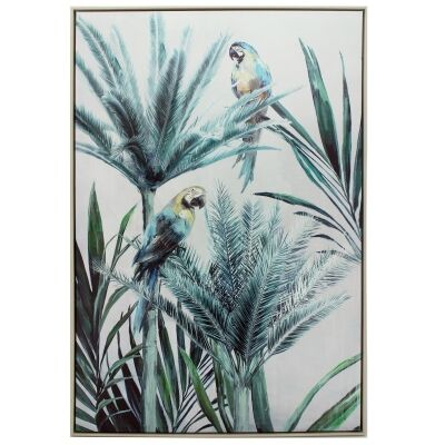 Suzy Macaw Palm Framed Hand Painted Canvas Wall Art, Left, 120cm