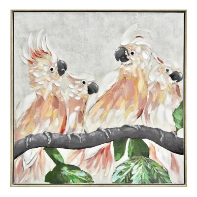 """""""Cockatoo Flock"""" Framed Hand Painted Canvas Wall Art, No.1, 80cm"""