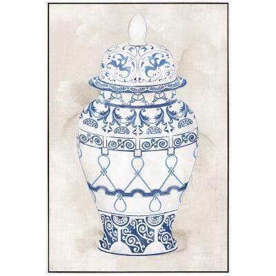 """Hampton Vase"" Framed Hand Painted Canvas Wall Art, No.1, 90cm"