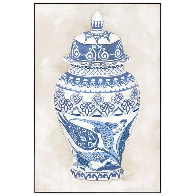 """Hampton Vase"" Framed Hand Painted Canvas Wall Art, No.2, 90cm"