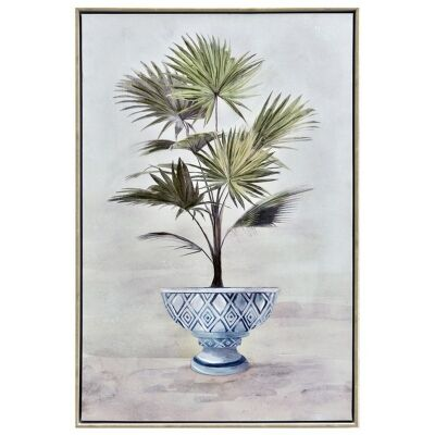 """""""Potted Palm"""" Framed Hand Painted Canvas Wall Art, No.1, 90cm"""