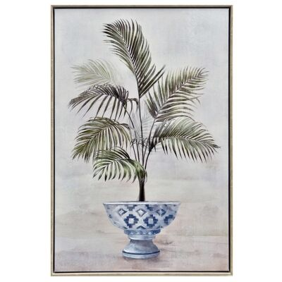 """""""Potted Palm"""" Framed Hand Painted Canvas Wall Art, No.2, 90cm"""