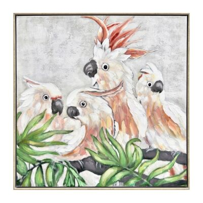 """""""Cockatoo Flock"""" Framed Hand Painted Canvas Wall Art, No.2, 80cm"""