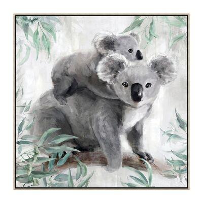 """Koala Family"" Framed Hand Painted Canvas Wall Art, 80cm"