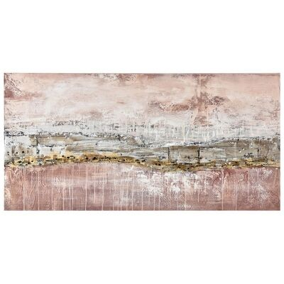 """""""Geo Rocky"""" Stretched Hand Painted Abstract Canvas Wall Art, 120cm"""