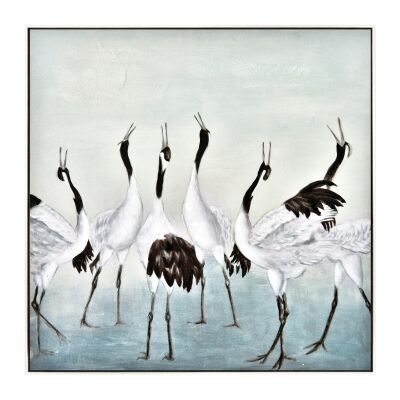 """Crane Flock"" Framed Hand Painted Canvas Wall Art, No.1, 80cm"