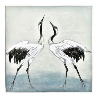 """Crane Flock"" Framed Hand Painted Canvas Wall Art, No.2, 80cm"