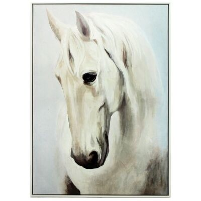 """""""Mustang Head Portrait"""" Framed Hand Painted Canvas Wall Art, 100cm"""