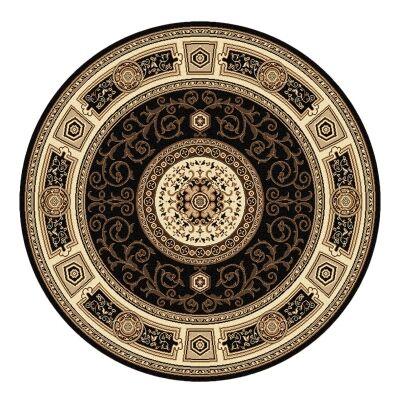Palais Kashan Oriental Round Rug, 200cm, Black