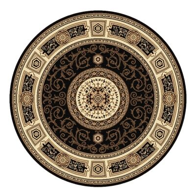 Palais Kashan Oriental Round Rug, 240cm, Black