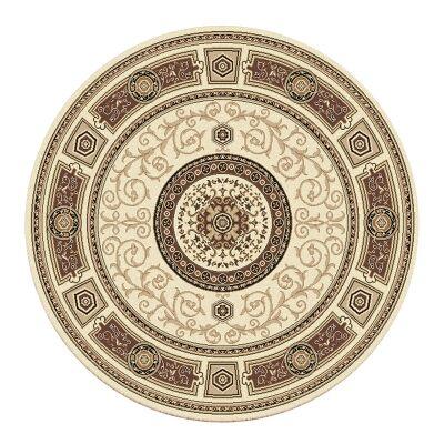 Palais Kashan Oriental Round Rug, 240cm, Cream