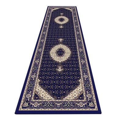 Palais Serapi Oriental Runner Rug, 80x300cm, Dark Blue