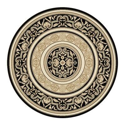 Palais Kirman Oriental Round Rug, 200cm, Black
