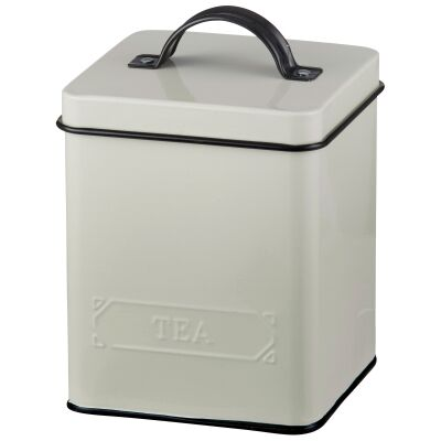 Pantry Embossed Carbon Steel Tea Canister, Cream
