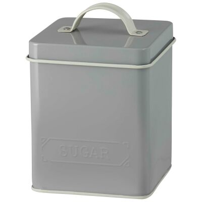 Pantry Embossed Carbon Steel Sugar Canister, Grey