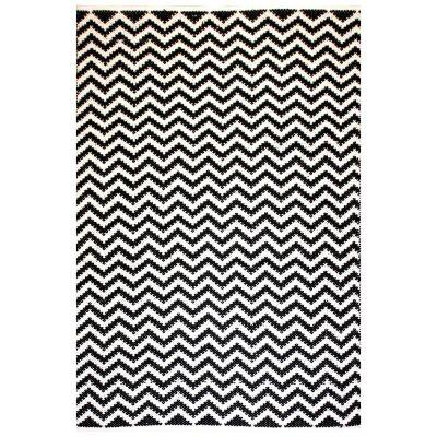 Parker Handwoven Chevron Cotton Rug, 130x70cm, Black / White