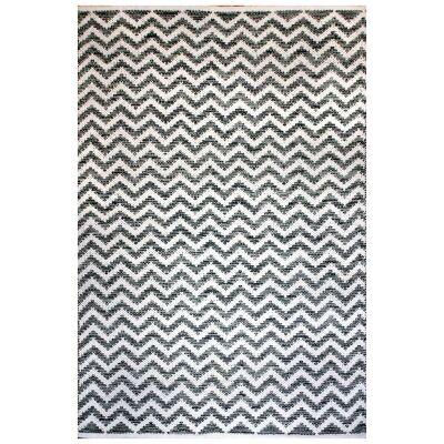 Parker Handwoven Chevron Cotton Rug, 290x190cm, Grey / White