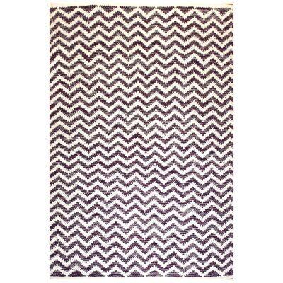 Parker Handwoven Chevron Cotton Rug, 290x190cm, Purple / White