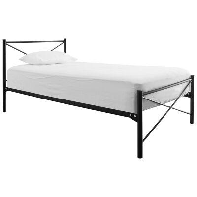 Tubeco Paris Australian Made Metal Bed, Single, Gloss Black