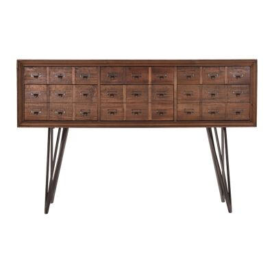 Carville Recliamed Fir Timber Pharmacy Drawer Console Table, 137cm