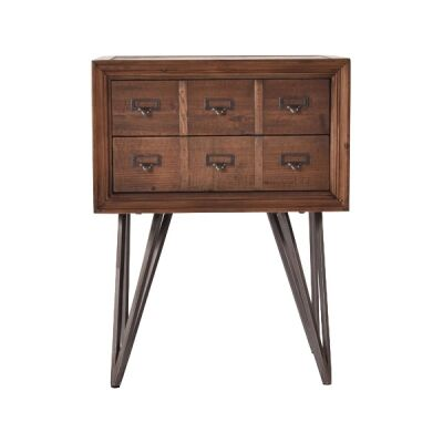 Carville Recliamed Fir Timber Pharmacy Drawer Side Table