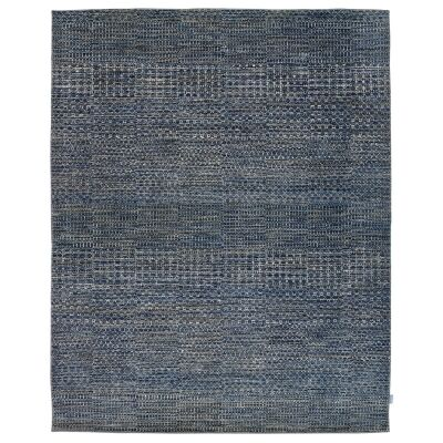 Perry Hand Knotted Wool Rug, 305x244cm, Denim Blue