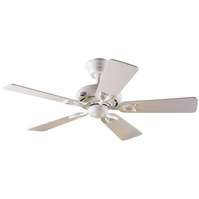 Hunter Seville II Commercial Grade White Ceiling Fan with White / Light Oak Switch Blades