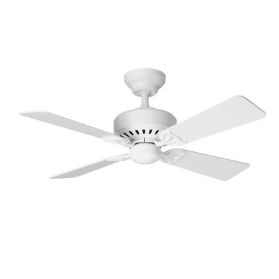 Hunter Bayport Commercial Grade White Ceiling Fan with White / Light Oak Switch Blades