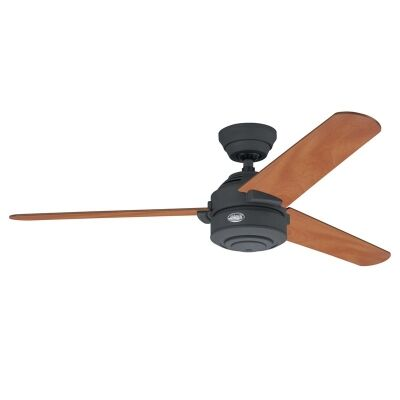 Hunter Carera Commercial Grade Graphite Ceiling Fan with Chestnut / Graphite Switch Blades