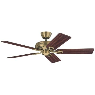 Hunter Savoy Commercial Grade Antique Brass Ceiling Fan with Rosewood / Medium Oak Switch Blades