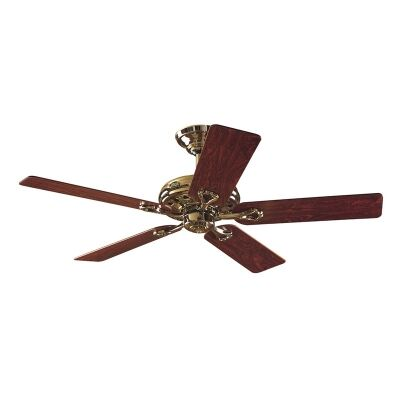 Hunter Savoy Commercial Grade Bright Brass Ceiling Fan with Rosewood / Oak Switch Blades