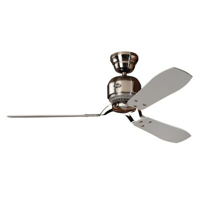 Hunter Industrie II Commercial Grade Brushed Chrome Ceiling Fan with Grey / Teak Switch Blades