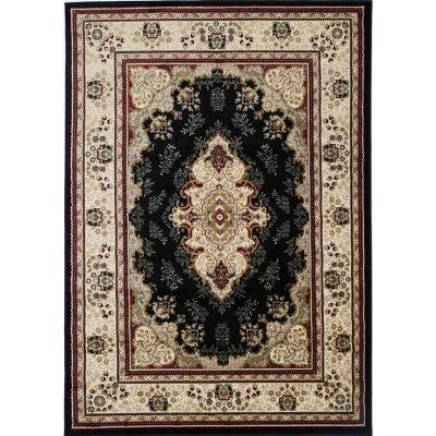 Gold Sidika Turkish Made Oriental Rug, 160x230cm, Black
